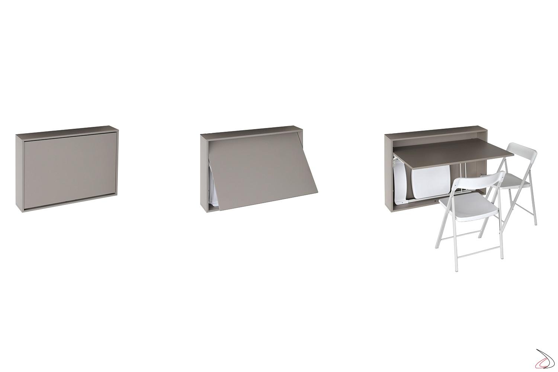 Consolle grigia sospesa da parete trasformabile in tavolo