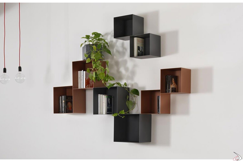 Libreria moderna sospesa componibile con pensile a cubo colorati