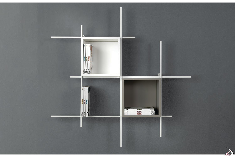 Libreria a cubi di design in tubolare d'acciaio con contenitori