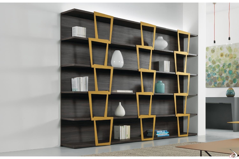 Libreria a moduli di design da soggiorno in laminato noce ardesia e oro