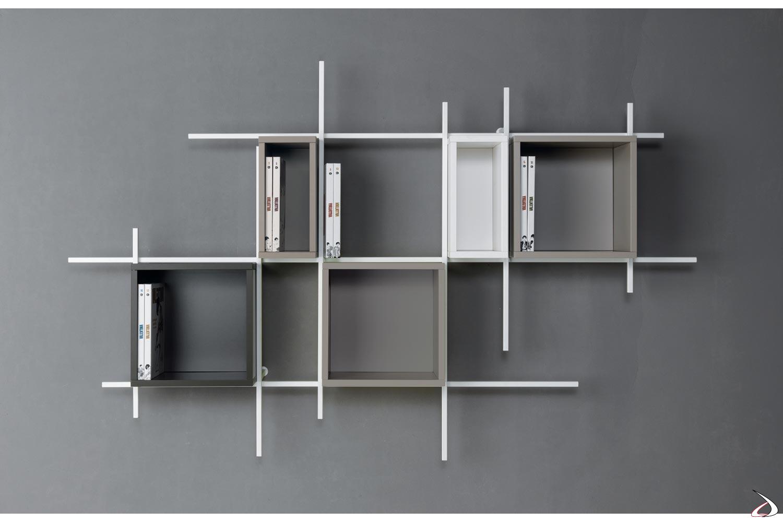 Libreria moderna da parete soggiorno con box contenitori