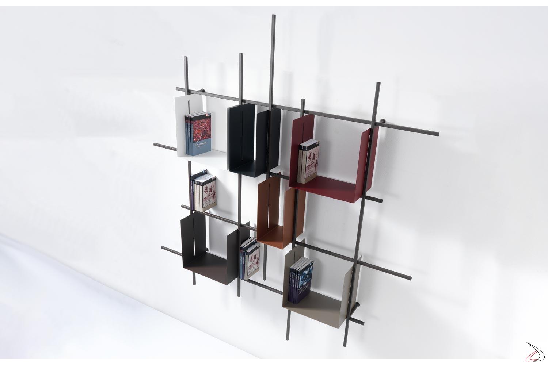 Libreria quadrata colorata moderna con box contenitori