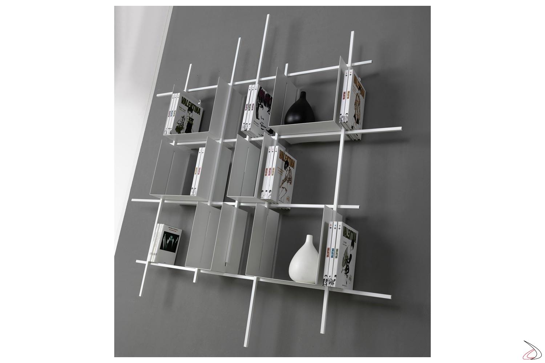 Libreria a cubi in tubolare d'acciaio con contenitori