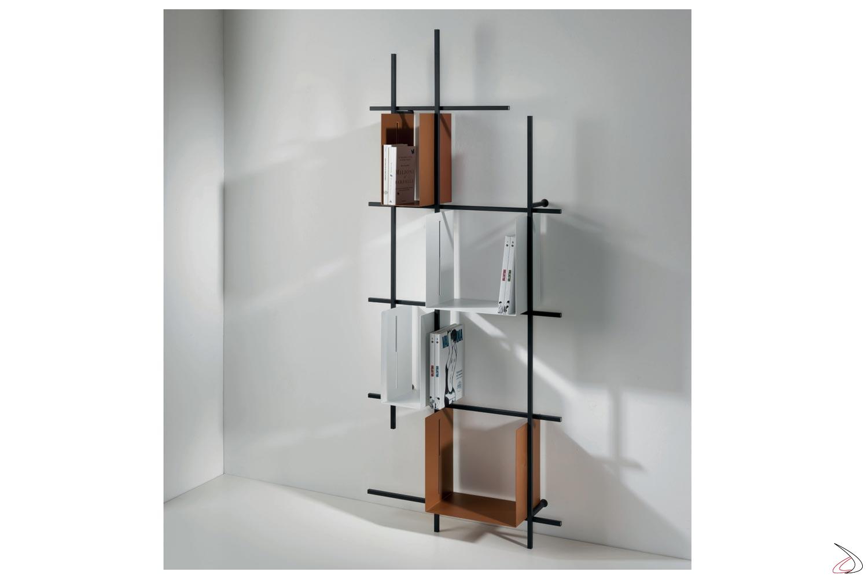 Libreria verticale di design da soggiorno con cubi contenitori