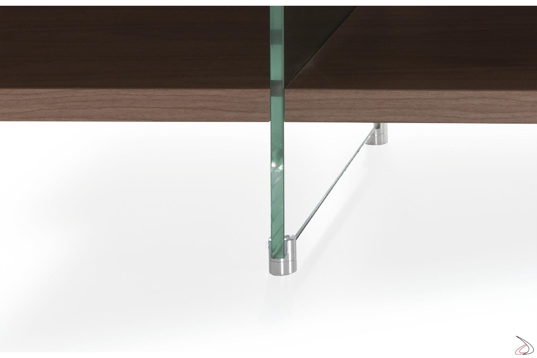 Madia con piedini in vetro e alluminio regolabili in altezza