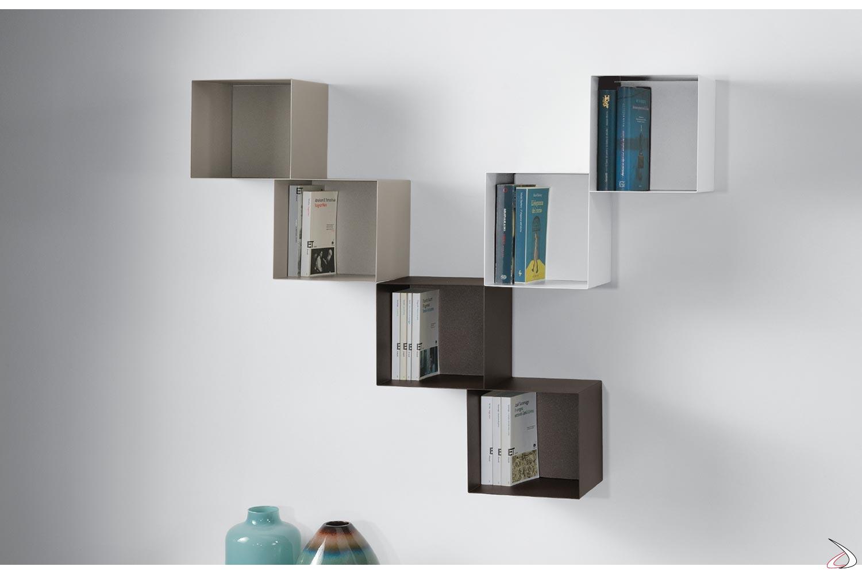 Libreria a cubi di design in acciaio verniciato tortora, bianco e cioccolato
