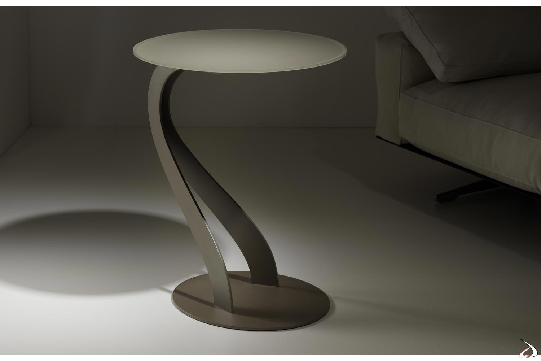 Tavolino alto con struttura a cigno in acciaio