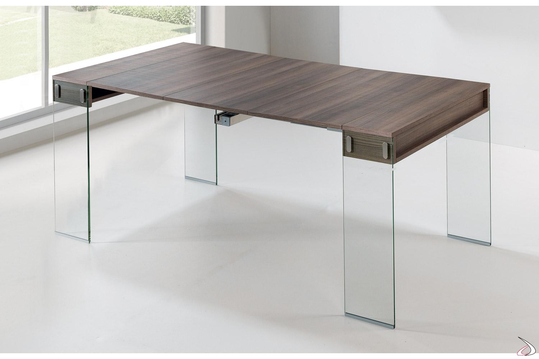 Tavolo consolle allungata con piano in laminato
