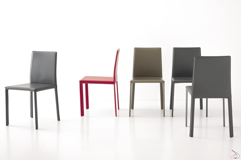 Sedie Design Schienale Alto.Sedia In Cuoio Rigenerato Moderna Paola Toparredi Arredo