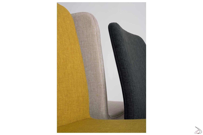 Sedie moderne in tessuto colorato imbottite per tavolo soggiorno