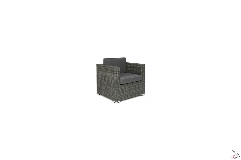 Poltrona da esterno grigio cenere con cuscini antracite