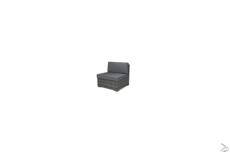 Poltrona da giardino grigio cenere con cuscini colore antracite