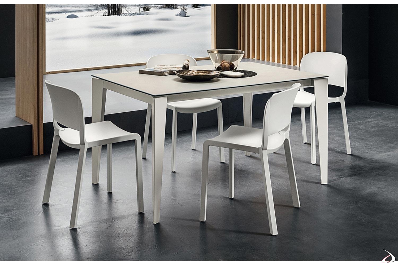 Tavolo di design bianco allungabile da cucina con piano in laminam