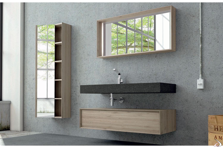 Bagno in legno di design con lavabo in gres
