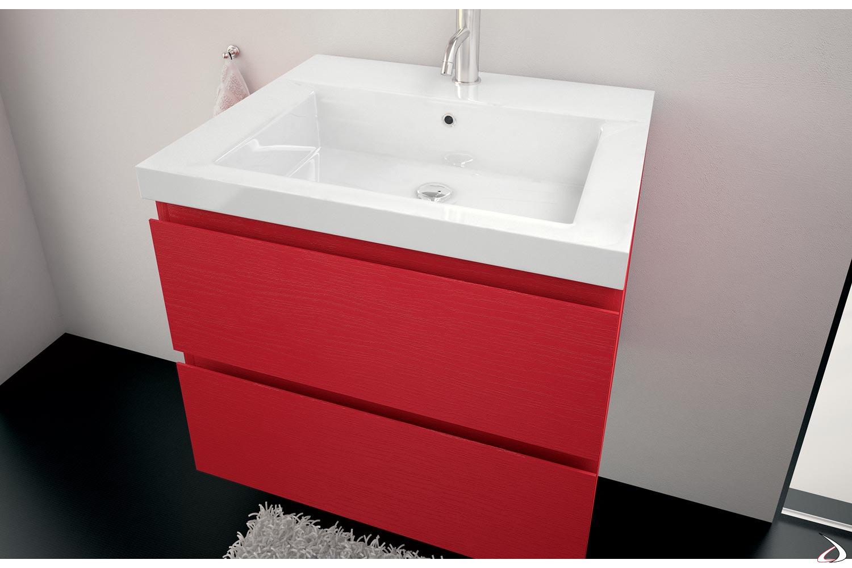 Consolle bianca in mineramarmo per arredo bagno