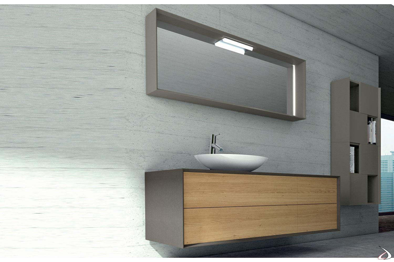 Bagno di design in legno con cassetti