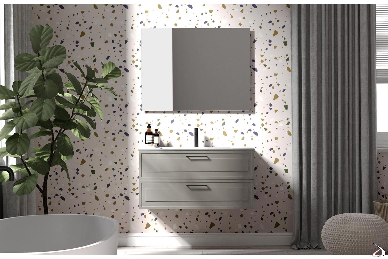 Mobile bagno piccolo sospeso a due cassetti con specchiera retroilluminata