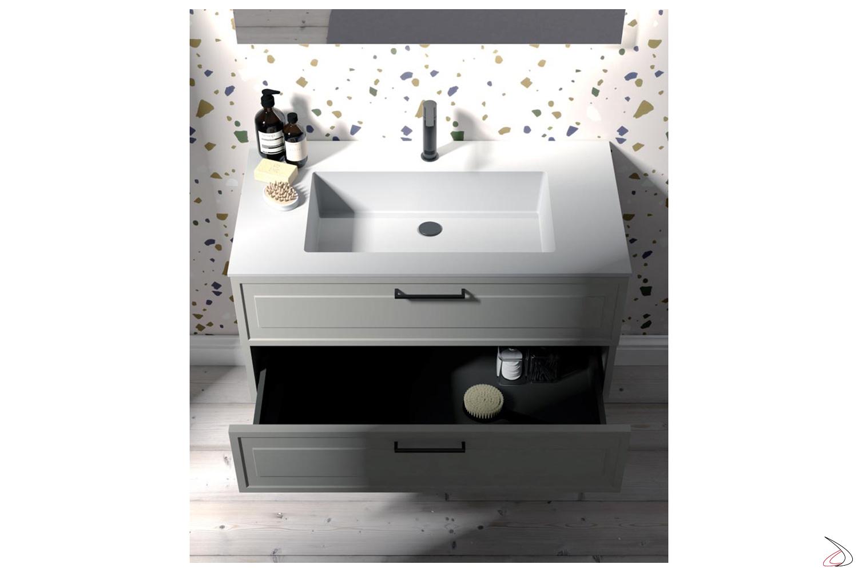 Arredobagno classico moderno con vasca integrata in mineral marmo