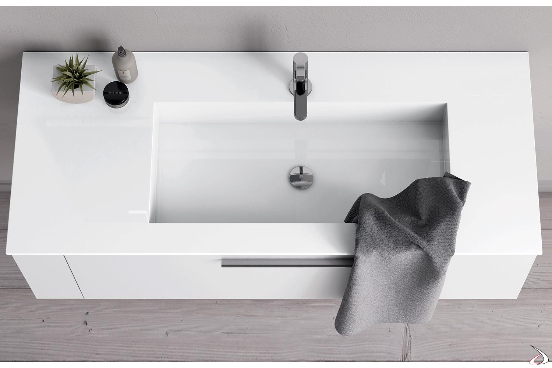 Bagno sospeso con base cassetto e lavabo integrato