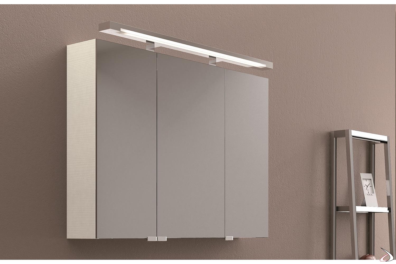 Specchio 3 ante da bagno contenitore con lampada al neon