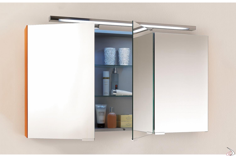 Specchio bagno contenitore con ante a specchio interno ed esterno