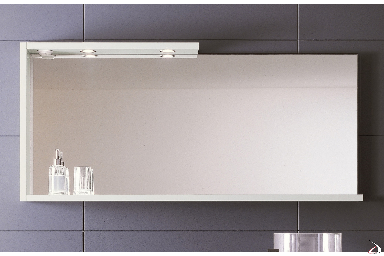 Specchiera bagno con cornice uso mensola con luci led ed interruttore