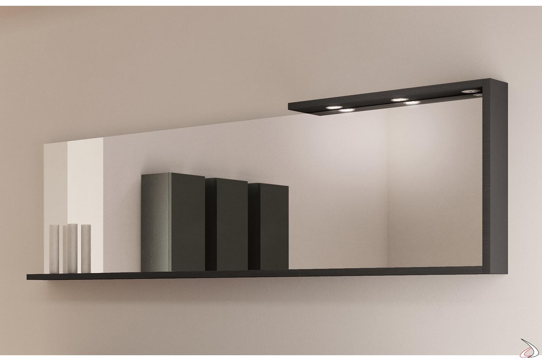 Specchio moderno da bagno con cornice uso mensola e luci led
