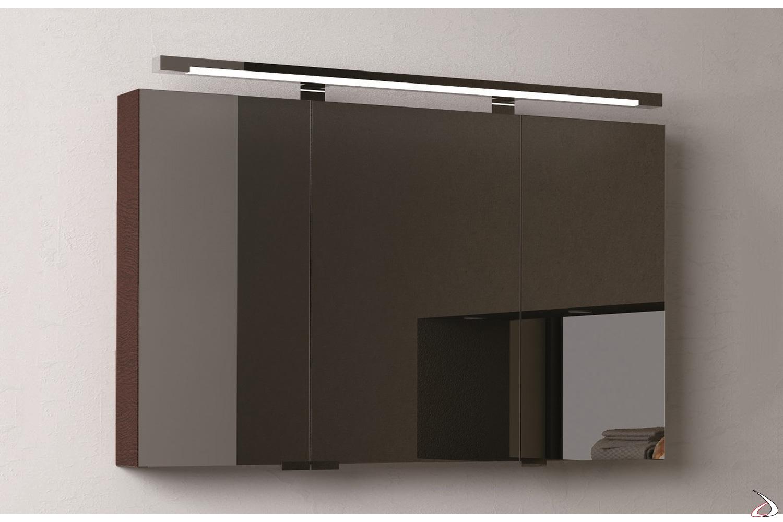 Specchio moderno da bagno contenitore 3 ante a specchio interno ed esterno