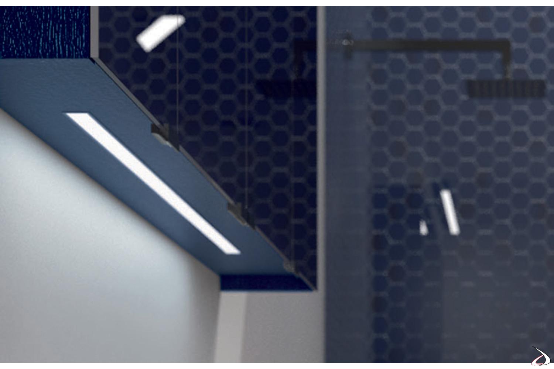 Specchio contenitore 3 ante con luce led inferiore integrata