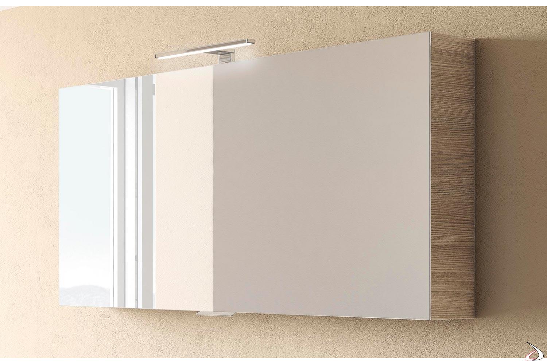 Specchio bagno contenitore con 2 ripiani interni in vetro