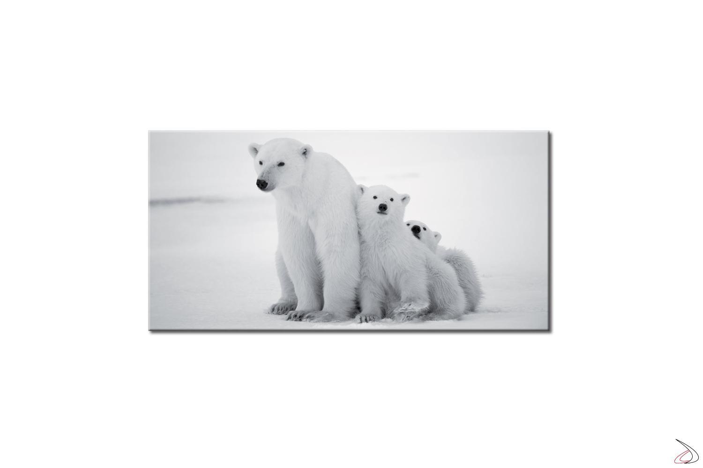 Quadro con immagine digitale, famiglia di orsi polari