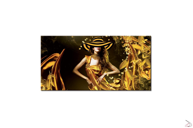 Quadro su tela, immagine di donna con veli dorati