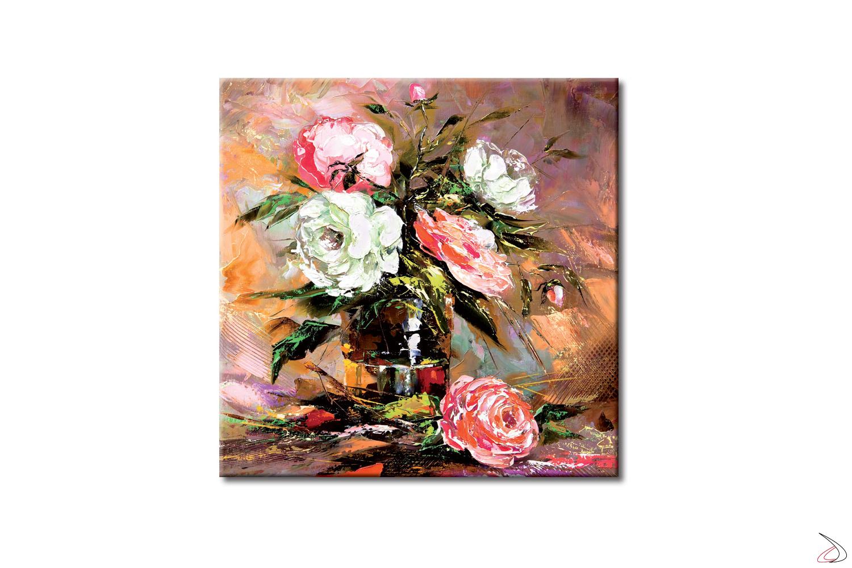 Quadro arredo floreale, riproduzione artistica di un vaso di rose.