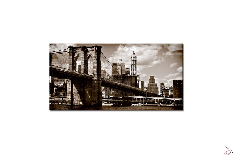 Quadro moderno stampa su tela o vetro, immagine in bianco e nero del ponte di Brooklyn