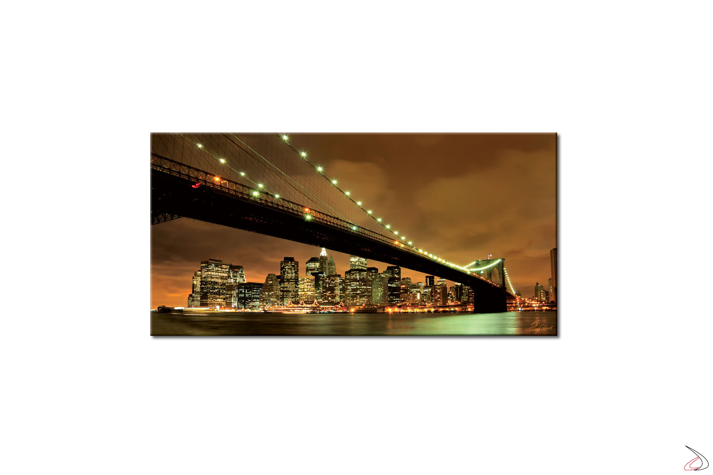 Quadro moderno, tramonto sotto il ponte di brooklyn con visuale dello skyline di Manhattan