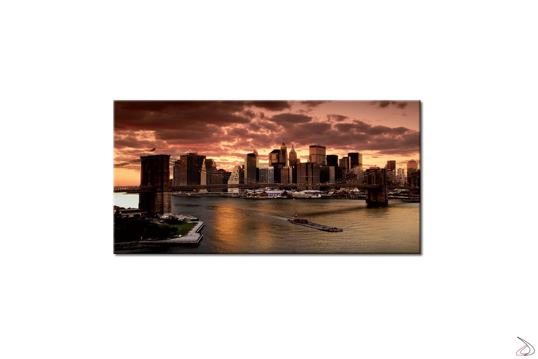 Quadro moderno, l'alba a New York con  il ponte di brooklyn in primo piano.