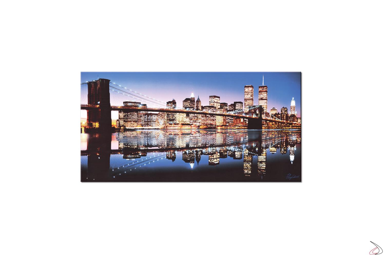 Quadro con immagine di Manhattan riflessa sul fiume