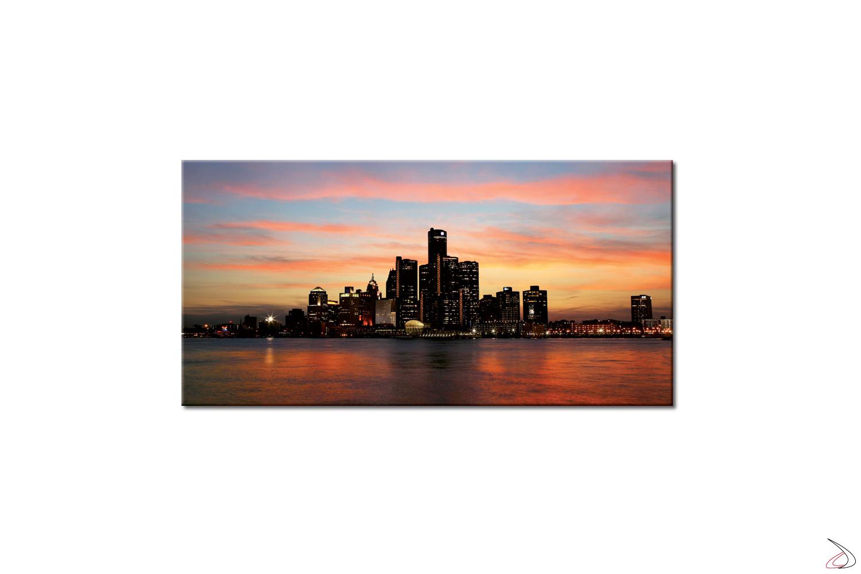 Quadro moderno con città di Detroit
