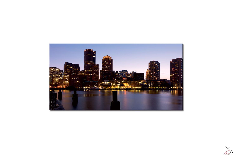 Quadro moderno con città di Boston in veste notturna