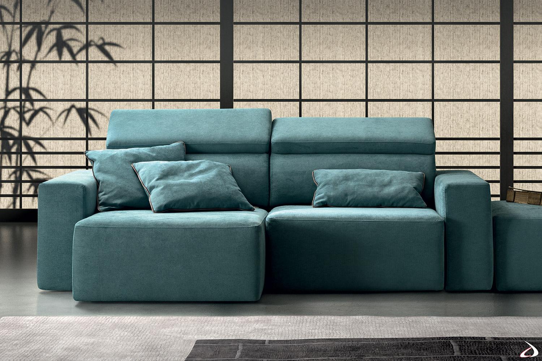 Divano 2 posti di design con sedute allungabili e poggiatesta reclinabili