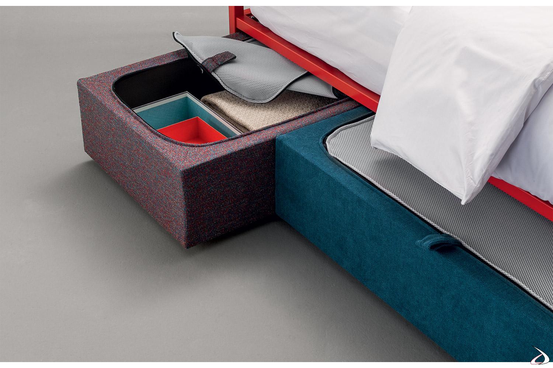 Cassetto contenitore su ruote rivestito in tessuto con tela antipolvere per letto