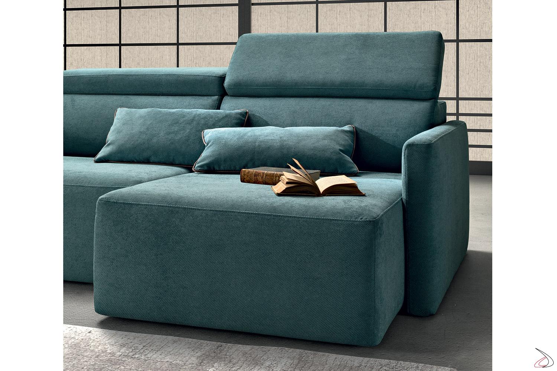 Divano con braccioli stretti moderno, con sedute allungabili e schienali reclinabili