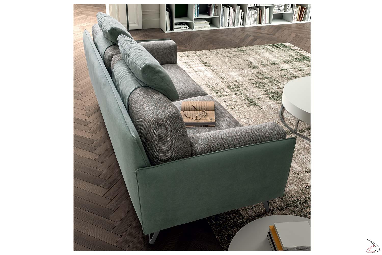Divano centro stanza 2 posti moderno bicolore con cuscini poggiatesta
