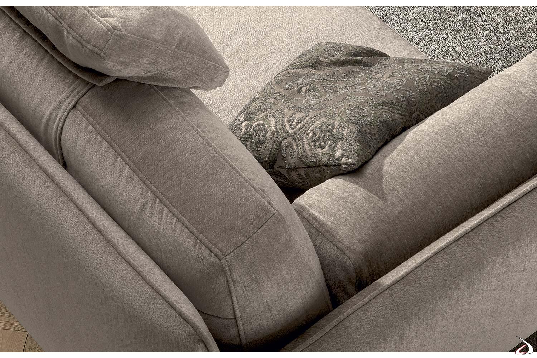 Divano angolare moderno con cusicno bracciolo e cuscino poggiatesta