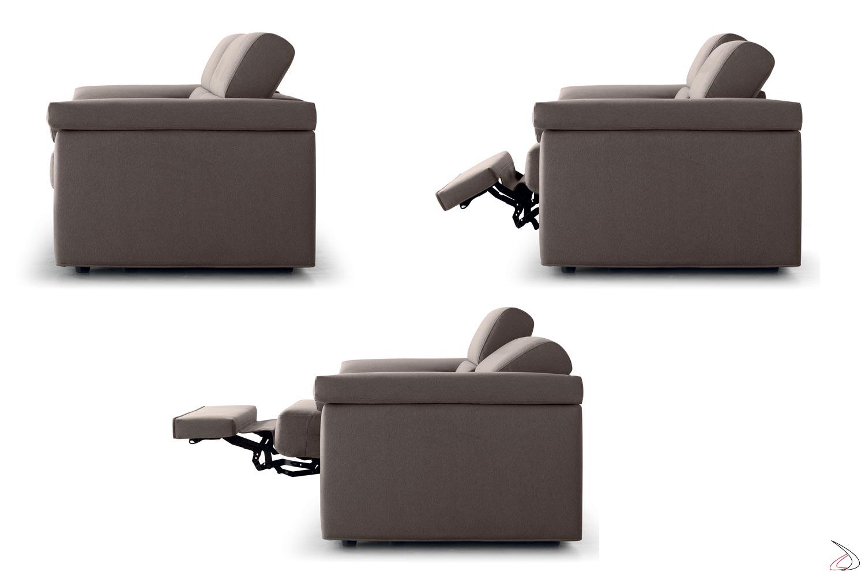 Divano moderno da salotto con sistema relax manuale o automatico