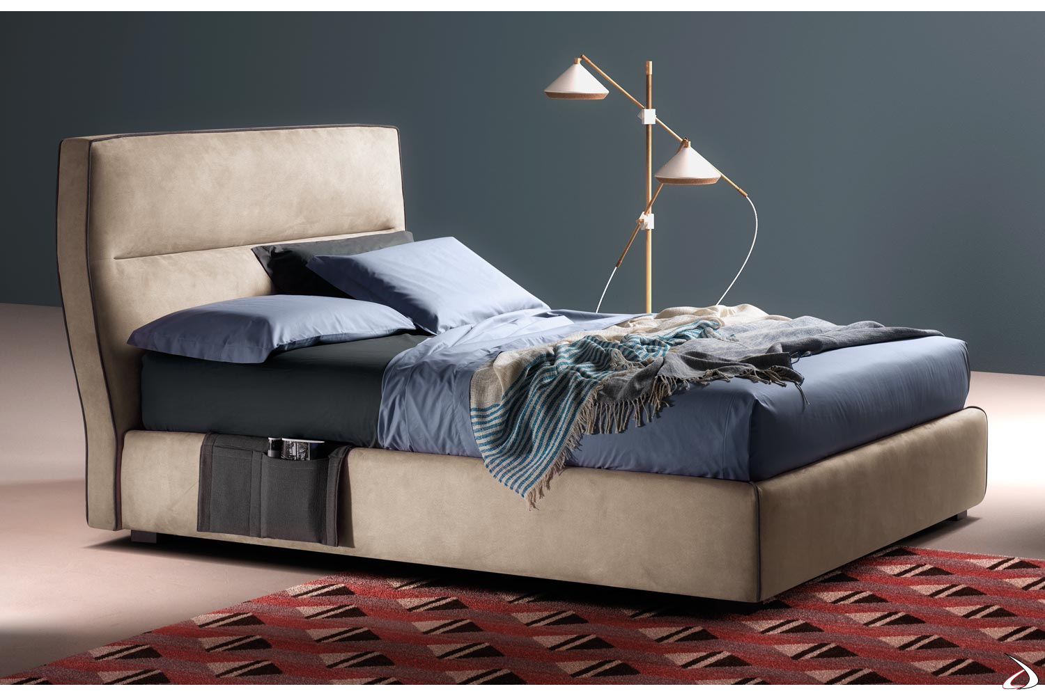 Letto 1 Piazza.Fuerte Upholstered 1 And A Half Square Bed Toparredi Arredo