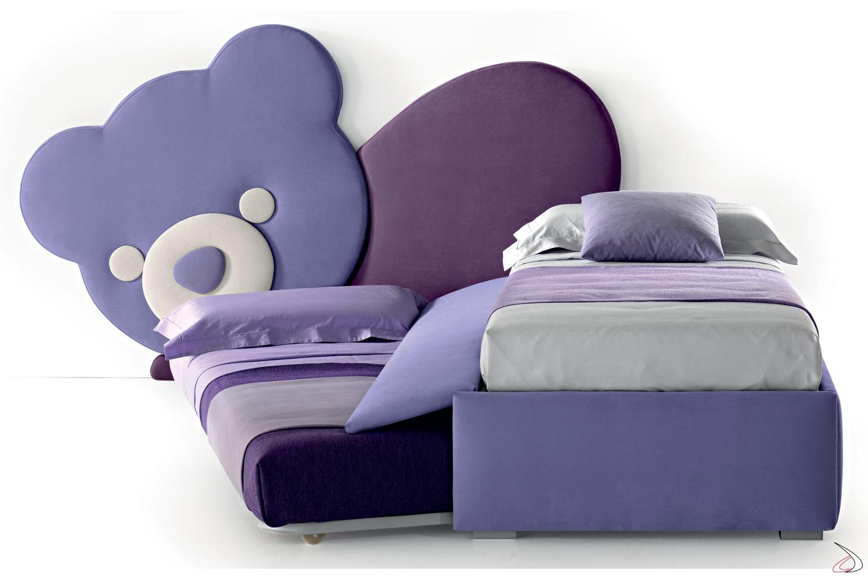 Testiera letto orsetto con letto e secondo letto estraibile