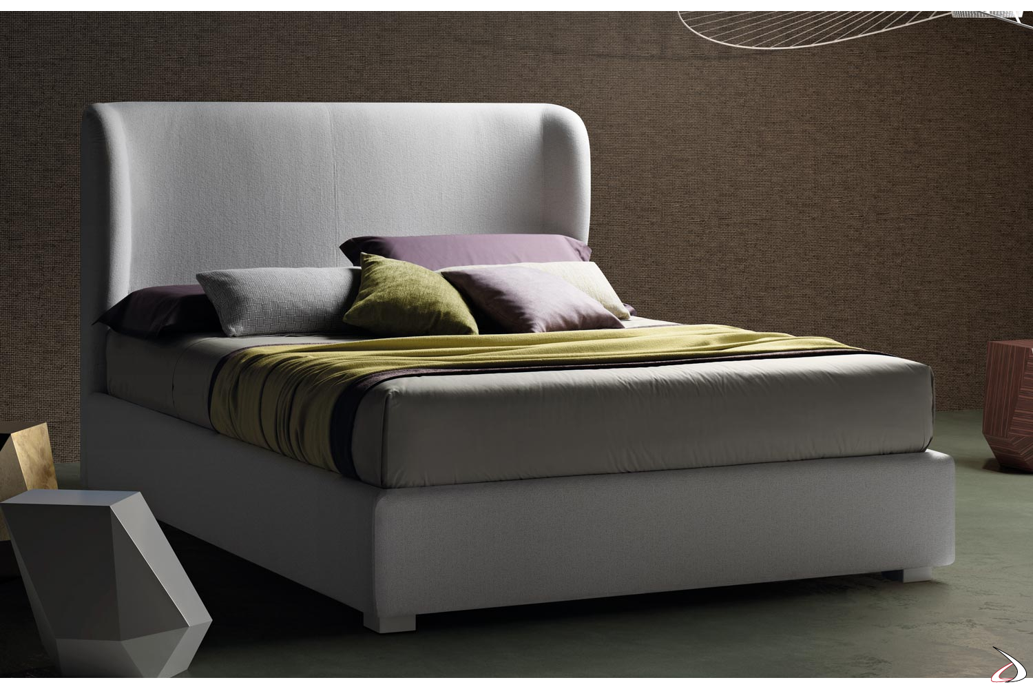 Testata Letto Moderna.Modern Bed With Alby Curved Headboard Toparredi Arredo Design