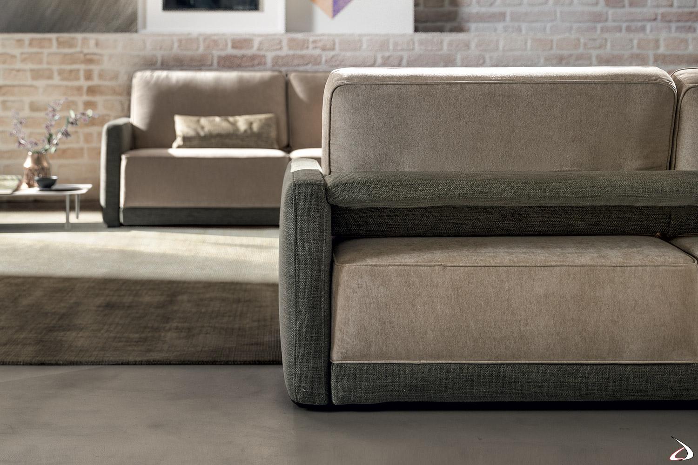 Salotto moderno con divani da centro stanza bicolore con sedute movibili