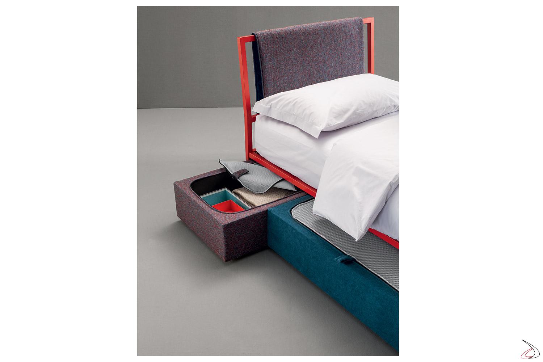 Letto singolo di design per bambini in ferro con cassetti contenitore scorrevoli rivestiti